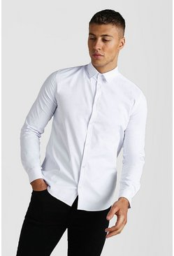 White Long Sleeve Muscle Fit Textured Formal Shirt
