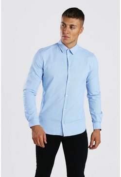 Blue Long Sleeve Muscle Fit Textured Formal Shirt