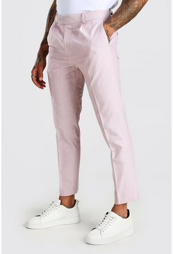 Pink Smart Cropped Plain Skinny Trouser