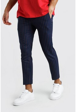 Skinny Navy Pinstripe Smart Cropped Trouser