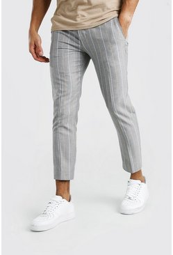 Skinny Grey Stripe Smart Cropped Trouser