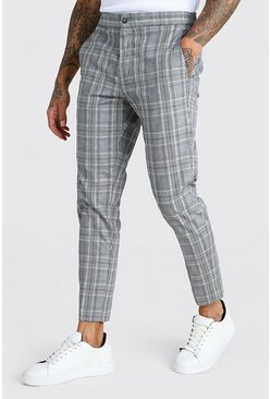 Grey Smart Check Cropped Trouser
