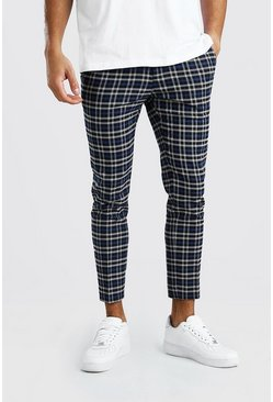 Skinny Navy Check Smart Cropped Trouser