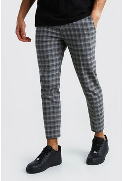 Skinny Tonal Grey Check Smart Cropped Pants
