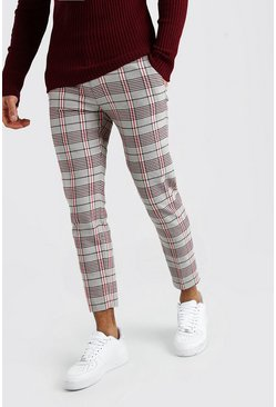 Stone Tartan Cropped Smart Pants