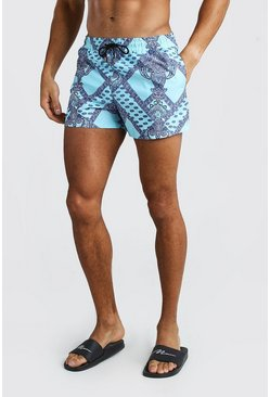 Blue Short Length Swim Shorts In Bandana Print