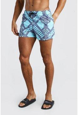Blue Short Length Swim Shorts In Bandana Print