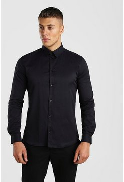 Black Long Sleeve Muscle Fit Textured Formal Shirt
