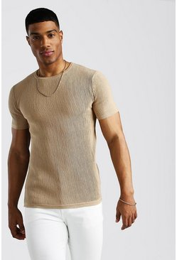 Taupe Knitted Ribbed Short Sleeve T-Shirt