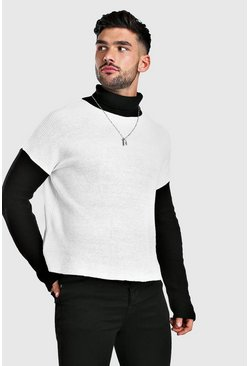 White Colour Block Sweater