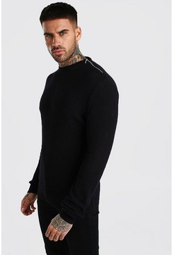 Black Turtle Neck Sweater With Zip Detail
