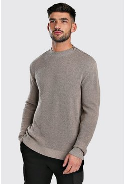 Taupe Turtle Neck Jumper With Zip Detail