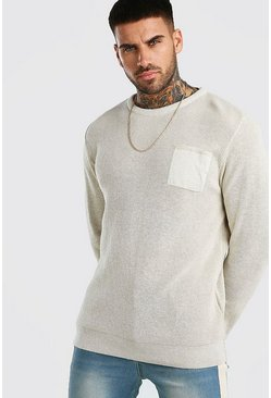 Stone Fisherman Knit Jumper With Pocket