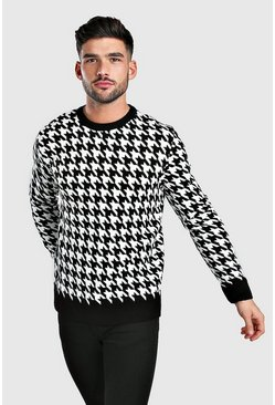 Black Houndstooth Crew Neck Sweater