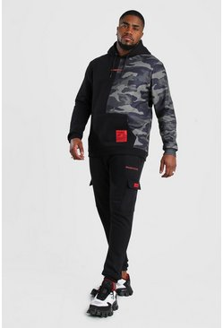 Black Big And Tall MAN Official Spliced Tracksuit