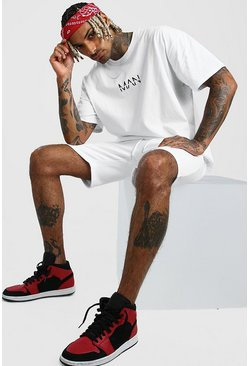 Ensemble short et t-shirt oversize MAN Dash, Blanc