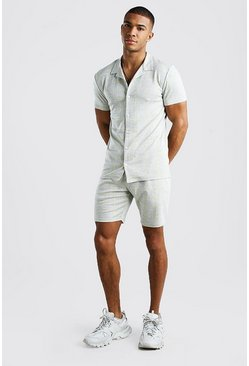 Grey Revere Collar Short Sleeve Shirt & Short Set