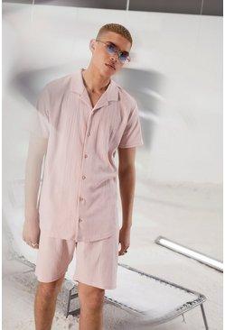 Dusky pink Short Sleeve Revere Collar Shirt & Short Set
