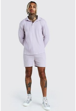 Grey Long Sleeve Half Placket Shirt & Short Set