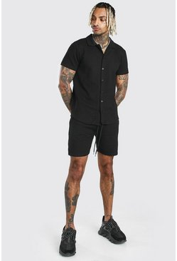 Black Short Sleeve Textured Shirt & Short Set