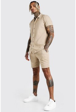 Taupe Short Sleeve Textured Shirt & Short Set