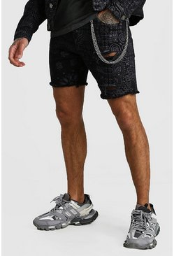 Black Slim Fit Bandana Print Denim Shorts With Chain