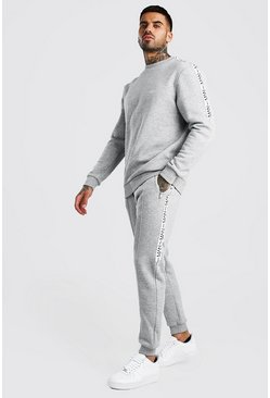 Grey Original MAN Tape Sweater & Pintuck Jogger Set