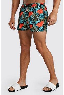Multi Short Length Palm Print Swim Shorts