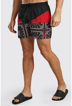 Short de bain bandana colorblock avec écusson MAN, Rouge