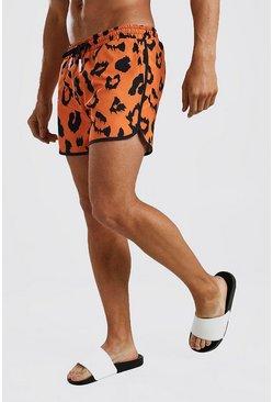 Orange Short Length Leopard Print Tape Swim Shorts