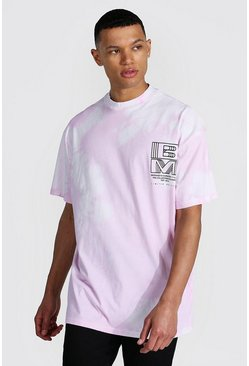 Tall Oversized Extended Neck Tie Dye T-shirt, Lilac