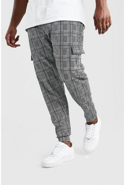 Grey Plus Size Check Cuffed Cargo Jogger