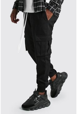 Black Big And Tall Ankle Detail Twill Cargo Trousers