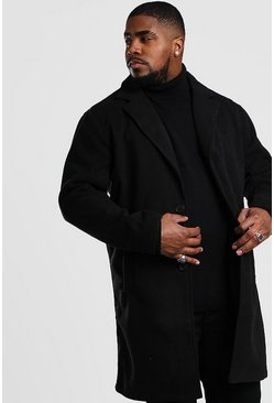 Black Big And Tall Unlined Wool Overcoat