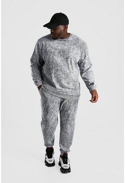 Grey Big And Tall Acid Wash Sweater Tracksuit