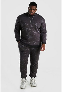 Grey Big And Tall Burnout Sweater Tracksuit