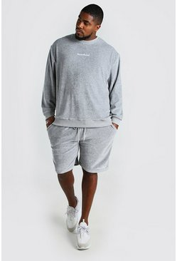 Grey Big And Tall Short Sweater Towelling Tracksuit
