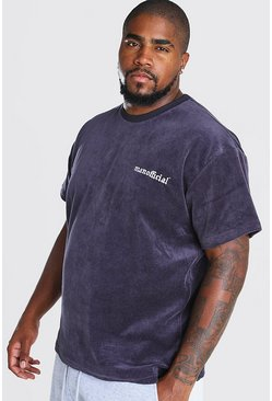 Slate Big And Tall Loose Fit T-Shirt in Towelling