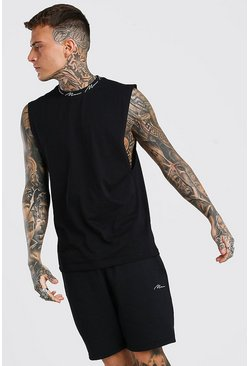 Black MAN Signature Neck Drop Arm Hole Tank