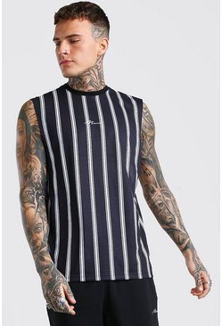 Black MAN Signature Drop Armhole Stripe Tank