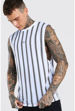 White MAN Signature Drop Armhole Stripe Tank