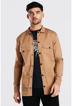 Tan Long Sleeve Utility Pocket Overshirt With Buttons
