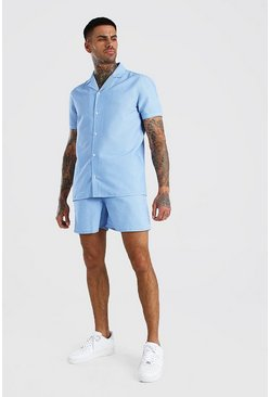 Blue Short Sleeve Revere Collar Shirt & Short Set