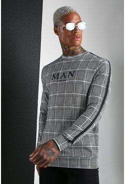 Blue MAN Roman Jacquard Check Sweat With Tape
