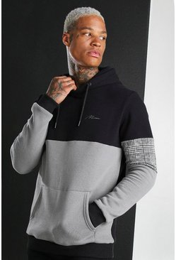Charcoal MAN Signature Colour Block Hoodie With Panels