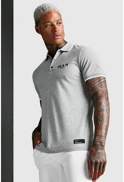 Grey MAN Roman Muscle Fit Polo With Placket Tape