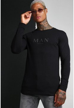 Black Muscle Fit ROMAN Long Sleeve Longline T-Shirt