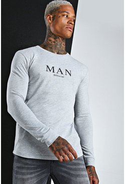 Grey Muscle Fit MAN Raglan Long Sleeve T-Shirt