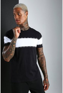 Black MAN Roman Colour Block T-Shirt With Tape