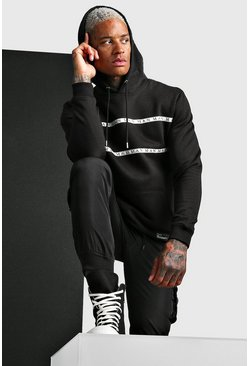 Black MAN Roman Hoodie With Tape